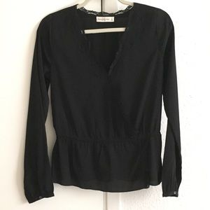 Abercrombie & Fitch Black Wrap Lace Top - Small